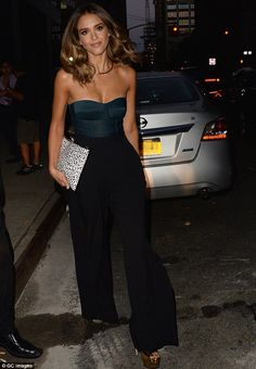 Looking chic: Jessica Alba looked stunning in an elegant number as she stepped out in New York City on Wednesday evening