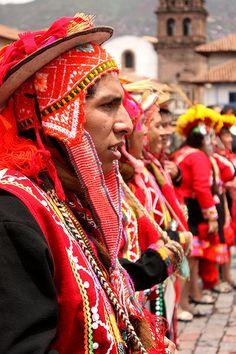 Men dressed in festival costumes in Cusco, Peru