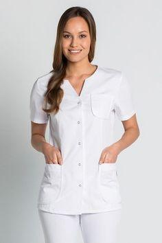 Tunique médicale Femme, Coupe Classique Dental Uniforms, Work Uniforms, Spa Uniform, Scrubs Uniform, Nursing Dress, Nursing Clothes, Salon Wear, Beauty Uniforms, Doctor Coat
