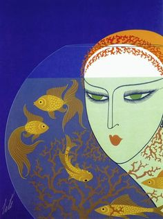 """Fish Bowl"" HUGE Art Deco Print by Erte: Amazon.co.uk: Kitchen & Home"