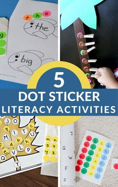 Try these literacy activities that use dot stickers. #abcideas #sightwords #toddler #preschool #GrowingBookbyBook Phonics Activities, Hands On Activities, Book Activities, Teaching Abcs, Teaching The Alphabet, Literacy Skills, Early Literacy, Learning Through Play, Kids Learning