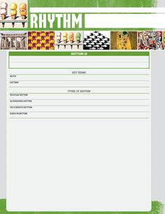 This front and back note sheet, featuring full-color images and formatted notes, is designed specifically for binders. Elements And Principles, Elements Of Design, Art Elements, High School Art Projects, Art School, School Lessons, Art Lessons, Rhythm Art, Art Classroom
