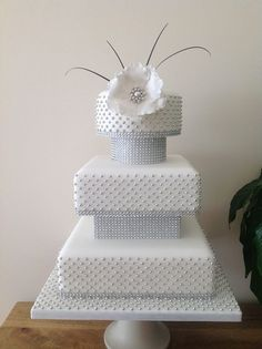 Silver Sensation Wedding cake - by Kimscakes @ CakesDecor.com - cake decorating website