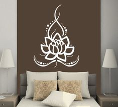 Wall Decals Yoga Lotus Indian Buddha Decal Vinyl Sticker Home Decor Bedroom…