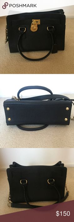 Michael Kors Hamilton Beautiful classy bag. Comes with attached shoulder strap. Saffiano black leather Michael Kors Bags Shoulder Bags
