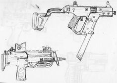a couple of sub-machine guns, again the  futuristic looking modern day guns look much cooler in my opinion on paper.