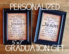 "Jeremiah 29:11 Personalized 5""x7"" Framed Art Print ... Graduation Gift ... ""For I know the plans I have for you, declares the Lord..."". $18.00, via Etsy."