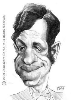 caricature of Jean-Paul Belmondo illustrated by Jean-Marc Borot