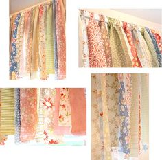"""""""Rag"""" Valance (by choosing suitable fabrics, would suit any number of decor styles ... I think I'll go with shabby chic and use torn strips of muslin, lace, lacy fabrics, and maybe a little burlap if it works in well). Also good for cottage, can even be rustic or primitive."""