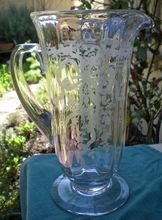 Most Special Fostoria Large Pedestal Based Pitcher -  June Pattern -  c. 1928- 1951 -  Beautiful Etching - Bouquets Of Flowers Tied With Ribbons -  Optic Ribbing -  June was first introduced in 1928 and was Fostoria's top selling etched pattern  $325.00