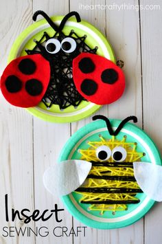 Paper Plate Insect Sewing Craft | I Heart Crafty Things