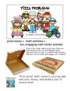 Score a few clean, empty pizza boxes from your local pizzaria, print, cut and laminate these resources and you have 3 wonderful math centers that a...