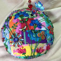 Kathy Miller. Kaffe fabrics. CD Pincushion tutorial at ivoryblushroses.com.