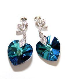 Bermuda Blue Swarovski Heart Crystal Earrings by GlitzAndLove