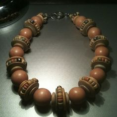 Vintage Retro 60's Chunky Tan Brown Gold Wood Bead Necklace