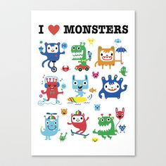 Monster Love Stretched Canvas by Andi Bird - $85.00
