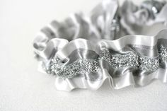 Gray and silver sparkle wedding garter-by The Garter Girl