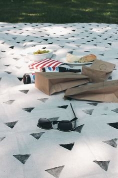Upgrade a basic picnic blanket with geometric stamps.