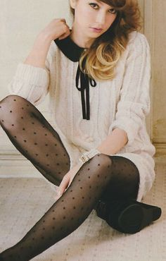 cream sweater dress, black polka dot tights, black booties fall winter spring