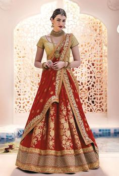 Red Designer Party Wear Lehenga Set