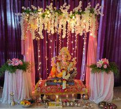 Flower Decoration For Ganpati, Eco Friendly Ganpati Decoration, Ganpati Decoration Design, Gauri Decoration, Mandir Decoration, Ganapati Decoration, Diwali Decorations At Home, Festival Decorations, Background Decoration