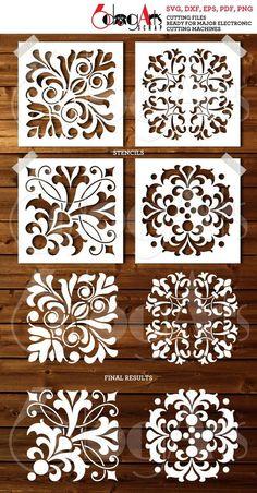 4 Tile Digital Stencil Template Designs SVG DXF cut files image 0 Source by dilsydepaiz Stencil Templates, Stencil Patterns, Stencil Designs, Free Stencils, Deco Cuir, Cnc Cutting Design, 3d Laser, Tile Design, Bar Design