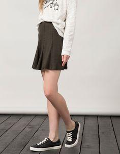 BSK skater skirt with border - Skirts - Bershka Czech Republic