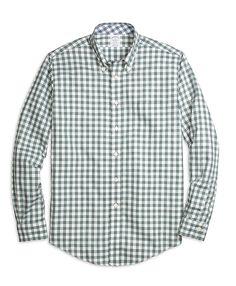 0129ebb3e Non-Iron Regent Fit Heathered Gingham Sport Shirt Green Gingham