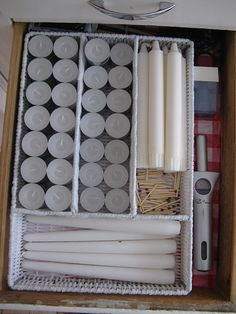 Candle Storage in a Cutlery Tray