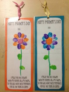 #MothersDay Use this template to create a cute mothers day bookmark using the kids fingers and thumb! We used lots of briht colours and students drew their own stem in texta. Mount on coloured card and laminate!