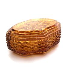 Your place to buy and sell all things handmade Glass Trinket Box, Glass Jewelry Box, Jewellery Box, Trinket Boxes, Vanity Box, Glass Boxes, Glass Candle Holders, Antique Glass, Amber Glass