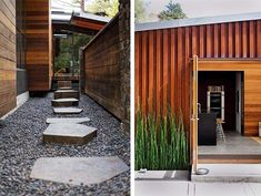 wood exterior and stones