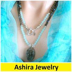 "Statement Necklace Ashira Natural Sea Aqua Blue Chalcedony and Labradorite Gemstone Necklace with Druzy Crystal Pendant - 38""#statementnecklace #ashirajewelry #trishregan #jcrew #jcrewstyle #gold #handmade#boldnecklace #chunkynecklace #gift #delicatenecklace #couturenecklace #couture #statementbracelet #jcrew #jcrew #bridal #wedding #pearls"