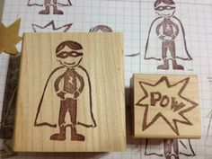 LOVE this superhero Stampin' Up! Undefined stamp set carved by Rose Castillo.