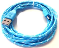 "myEcho Electric Blue and Lightning White {Mesh Metal Shielded} 10' Feet (3 Meter) Extra Long Quick Charge USB 2.0 Micro USB to USB Data Sync Cord Cable for Phones, Cameras, Tablets and GPS Devices ""SEE COMPATIBILITY"" (Heavy Duty Braided Armor Plated Coating - Tangle Free Design)"