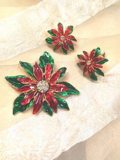 Vintage Poinsettia Brooch & Earrings Set Mid-Century Estate Jewelry From NorthCoastCottage Jewelry Design & Vintage Treasures on Etsy, $59.00