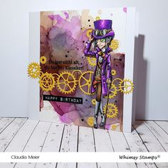 Claudia's Karteria: Du bist ein Steampunk-Klassiker | You are a steamp... Memories Box, Prismacolor, Steampunk, Happy Birthday, Whimsy Stamps, I Card, September, Classic, Cute