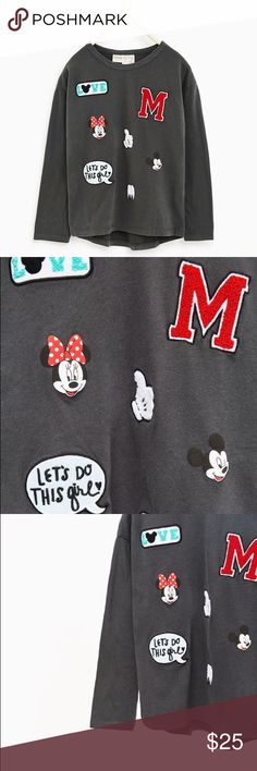 Minnie Mickey Disney Top Girls Minnie and Mickey Lovers rejoice! So soft and will fun patches!Long sleeve top with a round neck and front print. Zara Shirts & Tops Tees - Long Sleeve