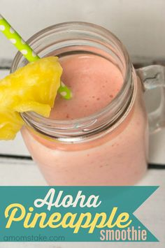 Aloha Pineapple smoothie recipe - a copycat twist off of Jamba Juice's yummy smoothie with just 5 easy ingredients!