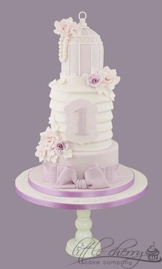 Lilac Pleated Birdcage Cake by Little Cherry Cake Unique Cakes, Elegant Cakes, Creative Cakes, Baby Cakes, Gorgeous Cakes, Pretty Cakes, Amazing Cakes, Fondant Cakes, Cupcake Cakes