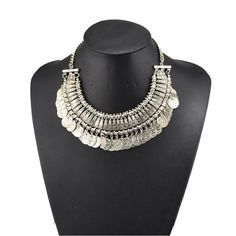 Hot Selling Womens Stylish Pretty Boho Silver Coins Choker Statement Necklace