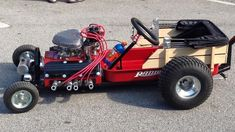 Gokart Plans 859554278862252225 - Lit'l Red Wagon Hot Rod Source by Custom Radio Flyer Wagon, Radio Flyer Wagons, Custom Rat Rods, Homemade Go Kart, Go Kart Parts, Lowrider Trucks, Diy Go Kart, Power Wheels, Red Wagon
