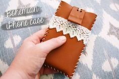 DIY - Bohemian iPhone case tutorial. How to create a beautiful iPhone case from a small piece of leather and some crocheted lace. @ By Wilma...