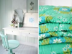 Turquoise Chair and Blanket: Gorgeous Turquoise Chair with a white dresser desk. Green and aqua blanket