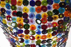 woven bullseye glass/ color splashes