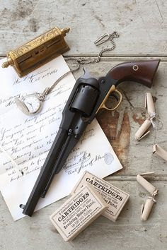 1858 Remington with rolled powder charges.