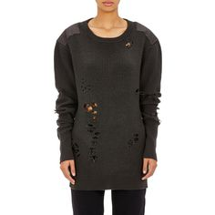 adidas Originals by Kanye West YEEZY SEASON 1 Destroyed Sweater ($2,600) ❤ liked on Polyvore featuring tops, sweaters, black, drop shoulder tops, crew-neck sweaters, ripped sweater, charcoal sweater e distressed sweater
