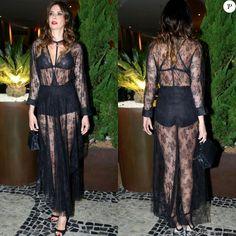 Luciana Gimenez escolheu look Bo.Bô completamente transparente com strappy bra e hot pants pretas à mostra em evento da Brazil Foundation