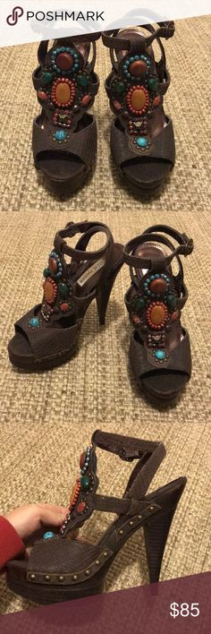 Steve Madden Beaded Heels AMAZING Steve Madden leather beaded strappy sandals. Excellent condition, no scuffs or beads missing and only worn a couple times! One of a kind shoes, a must have for anyone's closet! Steve Madden Shoes Heels