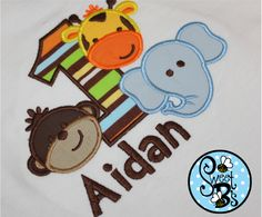 Safari Birthday Shirt for first birthday or any number. Fabric for number can be changed to match birthday party theme. :)